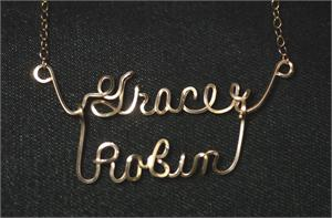 two name Romance Necklace in Gold Fill wire