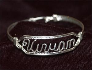 Sterling Silver Wire Name Bracelet Vivian