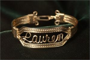Wire Name Bracelet  Lauren Heavy Band