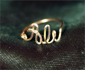 ali name ring 12k gold fill wire