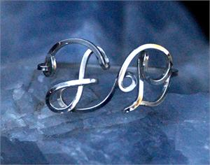 Initial Ring Custom Sterling Silver Wire F and P