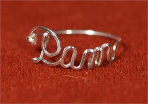 custom Script name ring Sterling Silver Wire