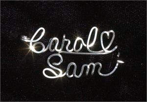 Two Name Romance Slant Pin Sterling