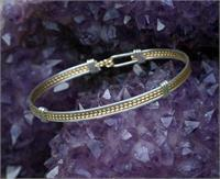 Classic Single Bracelet 12K Gold FIll and Sterling Silver Wire