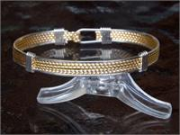 Wire Bracelet 12k Gold Fill and Sterling Silver  Mesh style