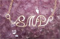 Handcrafted Initial necklace Gold Fill wire