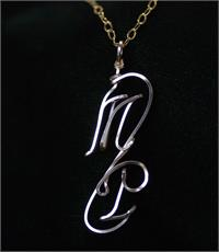 Two Initial Necklace Vertical Swirl Gold Fill