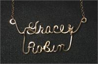 Two name friendship wire script necklace Gold Fill