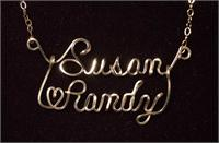 Two name wire romance script necklace Gold Fill