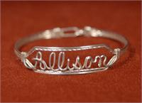 name bracelet sterling silver wire
