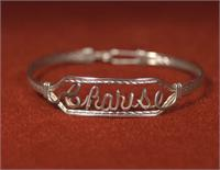 wire name bracelet sterling silver