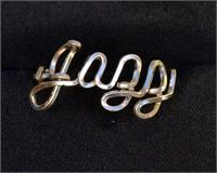 Script Wire Name Ring Jazz gold fill