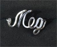 Wire Name Ring in Sterling Silver Meg